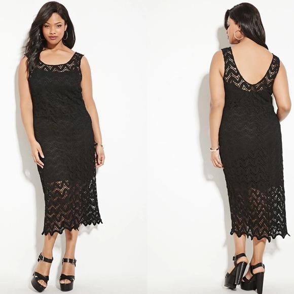 Forever 21 Dresses   Plus Size Black Crochet Dress   Poshmark